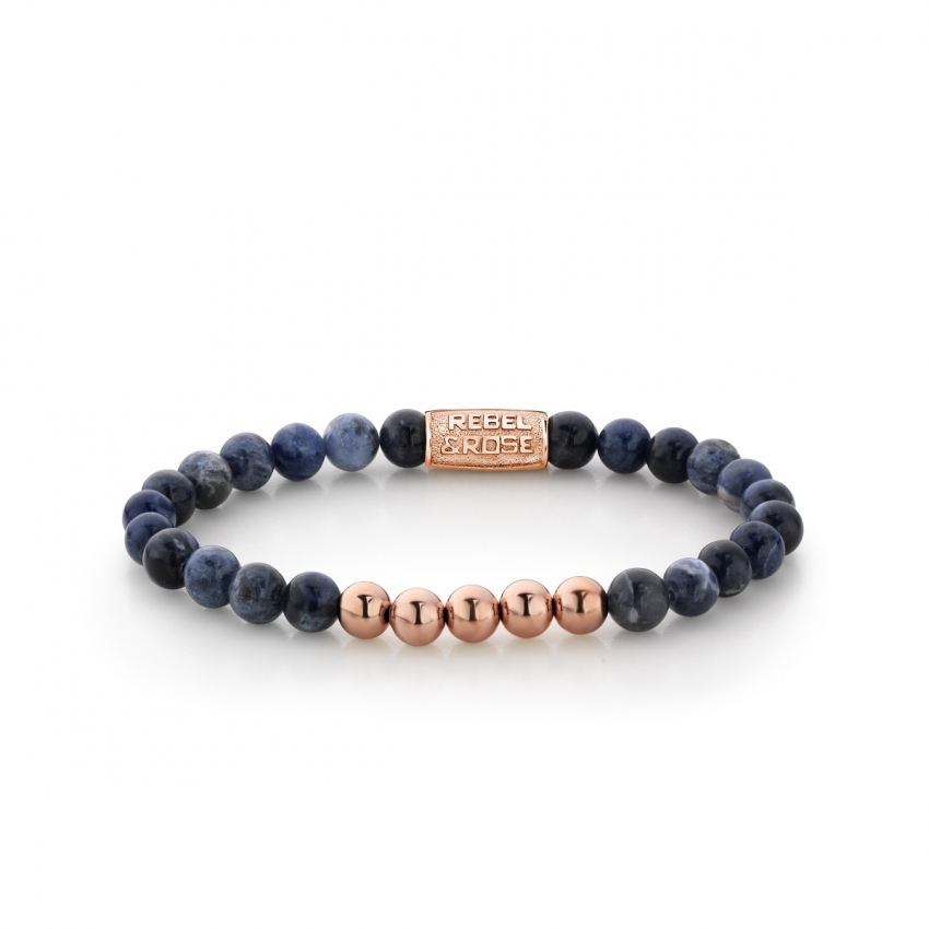 Midnight Blue - 6mm - rose gold plated