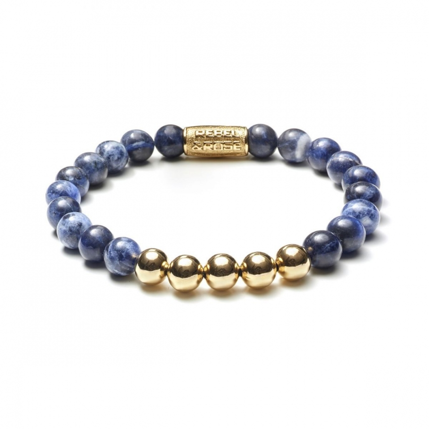 Midnight Blue - 8mm - yellow gold plated