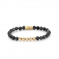 Grey Seduction - 6mm - yellow gold plated