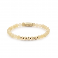 Ivory Beige - 6mm - yellow gold plated